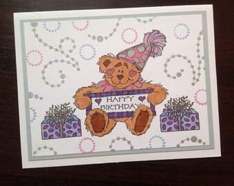Happy Birthday Bear Birthday Card