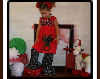 Reindeer Dress Toddler Girls - LONG Sleeves Available - Infant Toddler Youth Girls