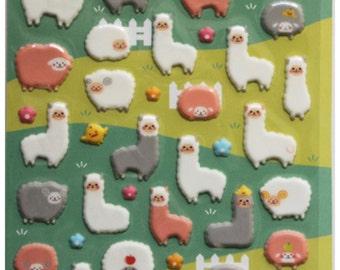 White Sheep & Alpaca Gel Deco Sticker 1 Sheets SS800