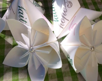 Large Paper Flowers With Faith, Hopeand Love Wedding Theme 5 Included
