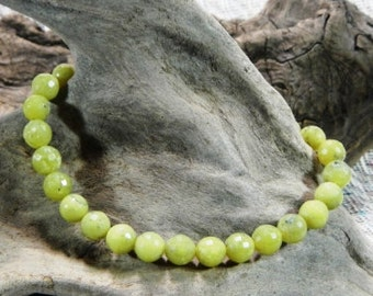 Yellow green jade bracelet faceted light green African jade semiprecious stone jewelry packaged in a gift bag 10073B