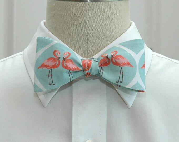 Men's Bow Tie, Aqua with Coral Flamingos, Wedding party tie, Groom bow tie, Groomsmen gift, Zoo wedding bow tie, Florida bow tie, Flamingos