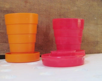 Vintage Collapsible Stanhome Plastic Cup/Pill Holders