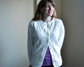 White 70s Cardigan - Cuddle Knit Vintage Sweater - White Medium Cardigan