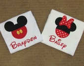 Mickey and Minnie Inspired Disney Shirts, SET of TWO, Brother and Sister, Birthday or Vacation, Minnie with Dress