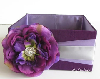 Program and Amenities Box,  Bubble Holder, Centerpiece, Favor Box,  - Custom Made- Plum and Wisteria