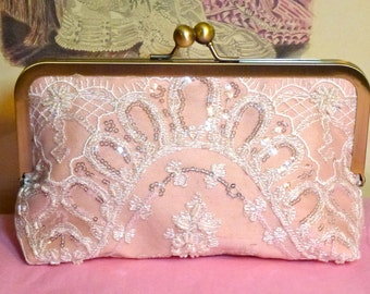 Bridal Clutch Blush Pink with Beading and Sequined Clutch