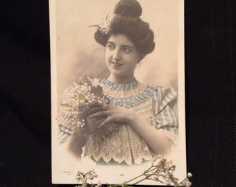 French Postcard Woman with Lily of the Valley Bouquet- Blue and White Lace Dress - Victorian Postcard