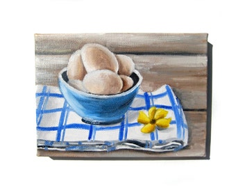 Egg Art - Country Painting - Country Decor - Egg Painting - Farm Painting - Kitchen Art - Kitchen Decor - Country Kitchen Decor - Eggs