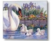 Swan Print on Wood, Kids Wall Art, Animal Nursery Decor by Janet Zeh
