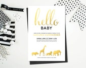 Safari Animal Baby Shower Invitation Printable - Gold, Black and White - Print Yourself