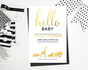 Safari Animal Baby Shower or Birthday Invitation Printable - Gold, Black and White - Print Yourself