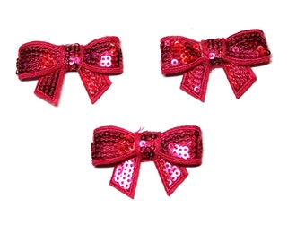 """Hot Pink Sequin Bow  - 1 1/2""""  - Set of 3"""