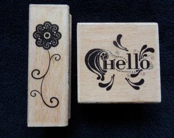 Hello & Flower - WM rubber stamp  (set of 2)