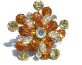 Vintage Rhinestone Brooch with Lava Glass Stones and Golden Amber & Yellow Chatons with Aurora Borealis Accents - Vintage Costume jewelry