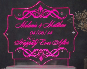 Happily Ever After / Fairy Tale Wedding Cake Topper  - Engraved & Personalized - Rhinestones optional - Light EXTRA