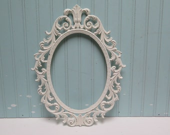 Ornate Oval Frame - Hollywood Regency -  painted Creamy White and lightly distressed No Glass