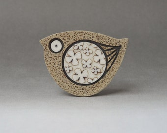 Spring bird brooch handmade stoneware with porcelain inlays