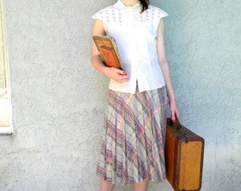 Vintage Accordion Skirt - 70s does 50s Pleated Plaid Wool Blend Skirt - Size M Medium - 1970s College Girl Look - Greece Sandy Cosplay