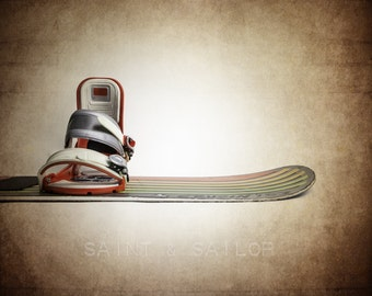 Vintage Snowboard Photo Art Print, Vintage Sports Decor, Snowboard Print, 12 Sizes Available from Print to Mounted Canvas