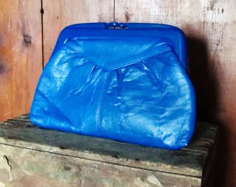 Awesome Eighties Electric Blue Pleather Clutch