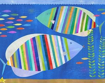 Tropical Fish Friends, Canvas Art Print // Nursery Art // Children's Illustration