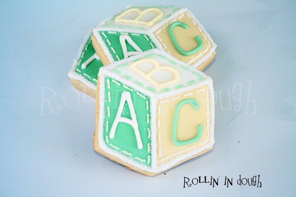 baby shower cookies alphabet blocks cookies baby block