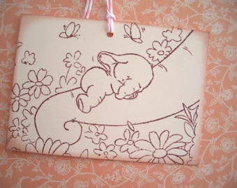 Baby Elephant Tag - Adorable Baby Image - Wish Card-Wish Tree Tag-Shower-Invitation-Thank You Card - Set of Six