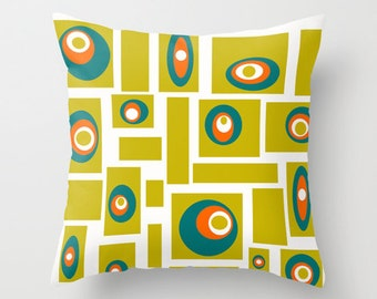 Mid Century Modern, Home Decor, Living Room Decor, Mid Century, Retro,  Cushion, Bedroom Decor, Green, Geometric,Orange, Pillows, White