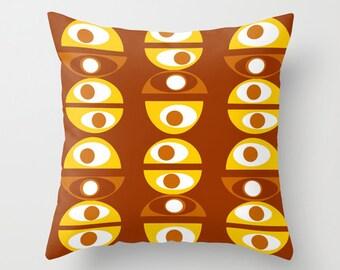 Modern Throw Pillow, Modern Brown Pillow,  Mid Century Modern Pillow, Retro  Pillow, Geometric Pillow,  Brown & Yellow  Pillow