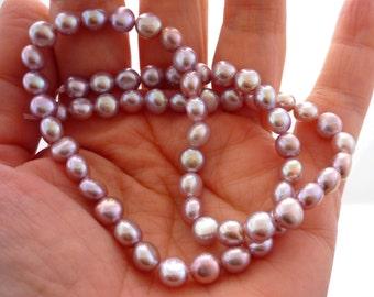 Pretty pale mauve button pearls 6mm 1/2 strand