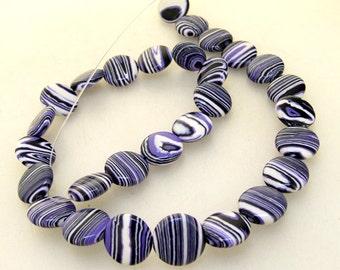 14mm Coin Purple Veins Malachite Jasper Gemstone Beads One Strand