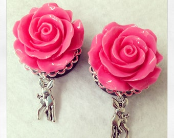 1 Inch Rose Plugs with Bambi Dangle