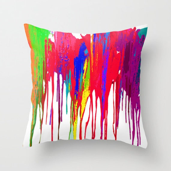 Funky bright paint drip design fabric pillow cover bold neon bright