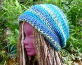 Blue Stripe Winter Crochet Dread Tam, Saggy Baggy Beanie Hat