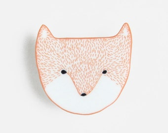 Fox Head Brooch - pin badge head face laser cut white bright orange mothers day birthday gift Christmas stocking filler
