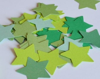 Green Paper Stars, Die Cut Star, Green Upcycled Die Cuts, 100 pieces, Birthday Party Confetti