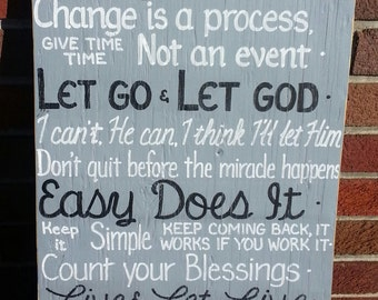 AA Quotes Serenity Prayer Inspirational SIGN One Day at a Time Alcoholics Anonymous Subway Wooden Courage Wisdom 13x22 Whagn