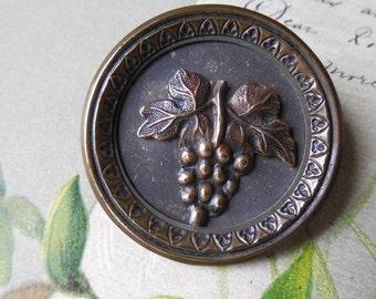 Antique Metal Picture Button Grape Cluster Design