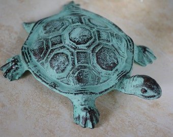 Home Decor Cast Iron Turtle - Sea Foam Green