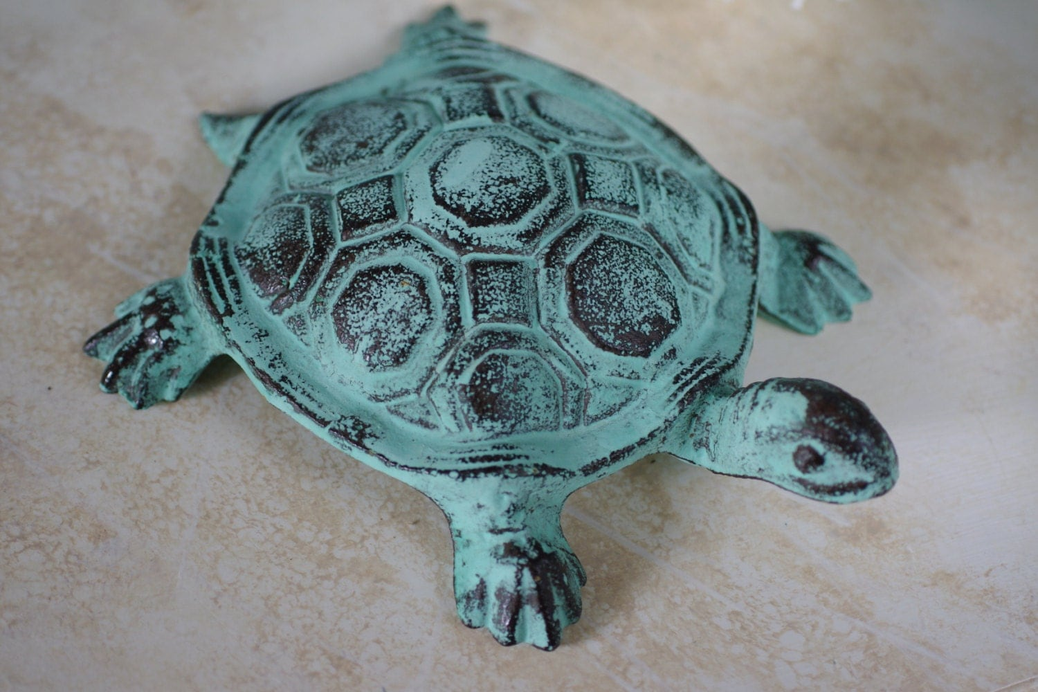 Home decor cast iron turtle sea foam green for Turtle decorations for home