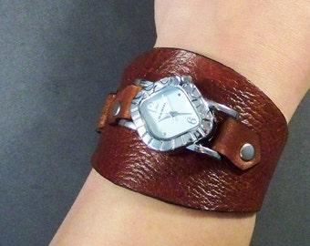 Leather watch, women's watch, leather watch cuff watch, brown leather watchband, boho leather watch