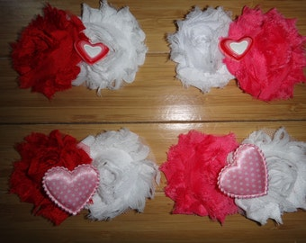 Valentine's Day Shabby Hair Clips (Choose your combination)