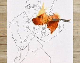 Quartet Series / 1 of 4 | 8.5 x 11 in. Art Print | modern abstract violin violinist musician wall art