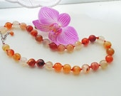 Carnelian Classic Necklace, Hand Knotted Necklace, Gemstone Necklace, Natural Carnelian Necklace, UK Seller