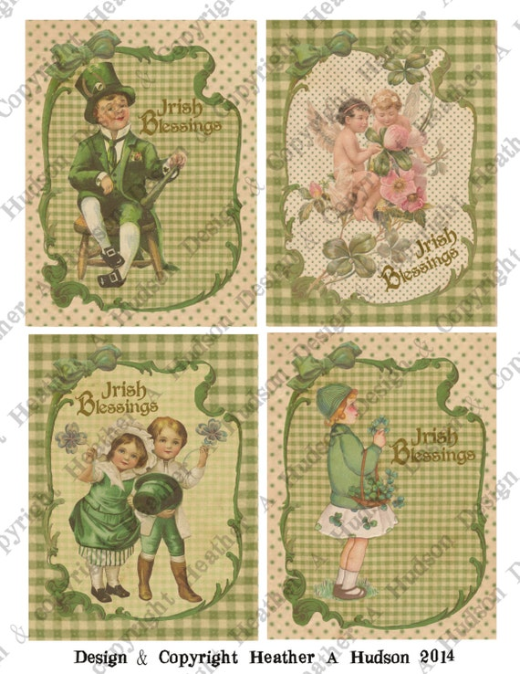 Victorian Vintage St Patrick's Day Shabby Card Fronts Digital Collage sheet Printable