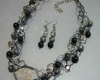 Adjustable Wire Crochet Necklace/Earring Set of Titanium-coated Agate Druzy, Onyx and Swarovski Crystal