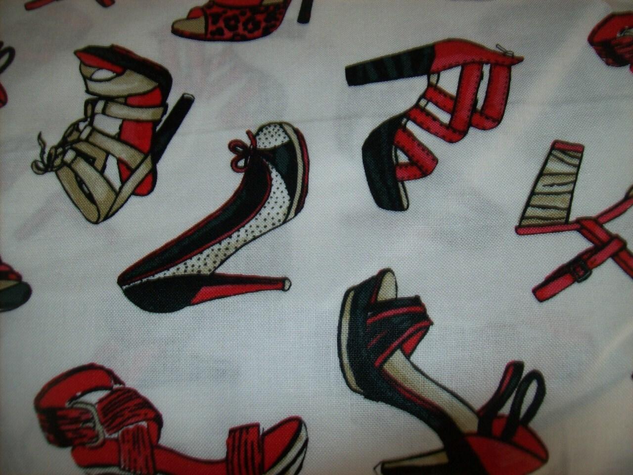 Cotton Print Fabric With Shoe Designs Per Half Yard Cotton