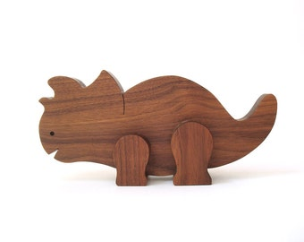 Simple Wood Toy Dinosaur Triceratops Wooden Waldorf Prehistoric Toy