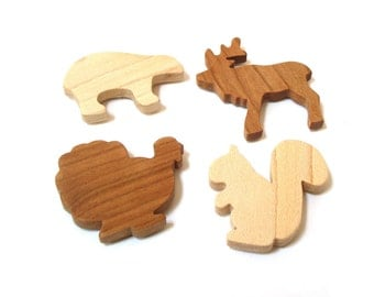 Wooden 4 Piece Woodland Animal Magnet Set Rustic Home Decor Cabin Decoration Wood Cutout Shapes Turkey Squirrel Bear Reindeer